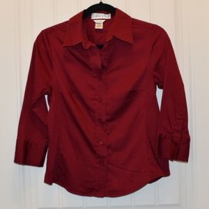 Dark Red 3/4 Sleeve Fitted Button Shirt w/ Stretch